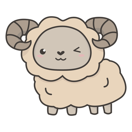 Kawaii Schafe zwinkern flach