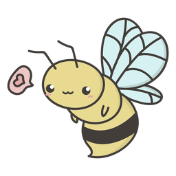 Linda abeja voladora plana