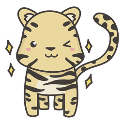 Kawaii tiger winking flat