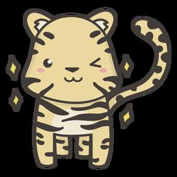 Kawaii tiger winking flat
