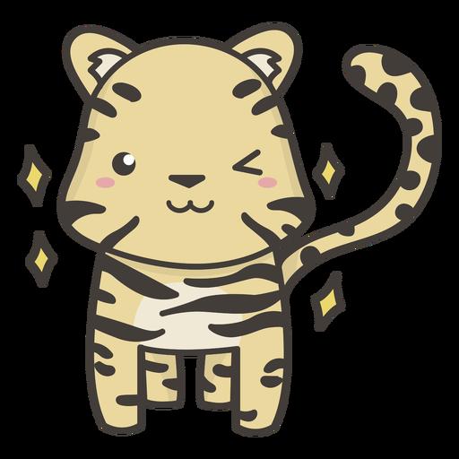 Tigre kawaii guiñando un ojo plano