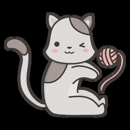 Cute cat playing flat