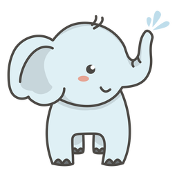 Adorable elefante plano