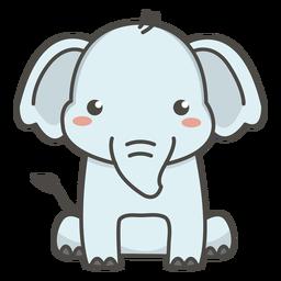 Feliz elefante sentado plano