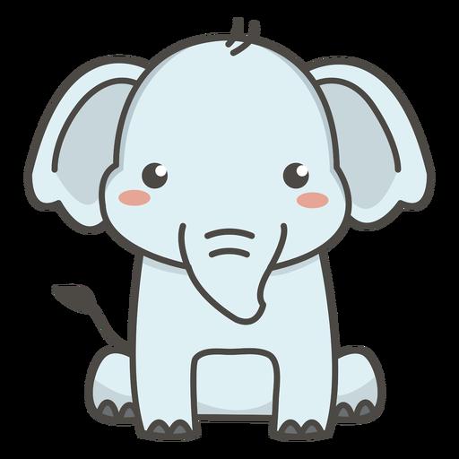 Elefante feliz sentado no chão