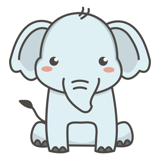 Happy elephant sitting flat