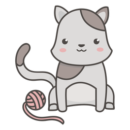 Kawaii cat flat