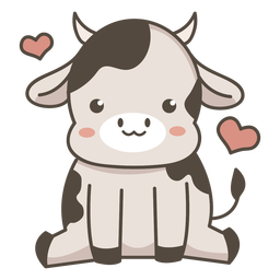 Cute cow sitting flat