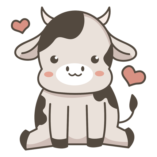 Cute cow sitting flat Transparent PNG