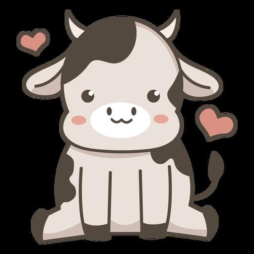 Cute cow sitting flat