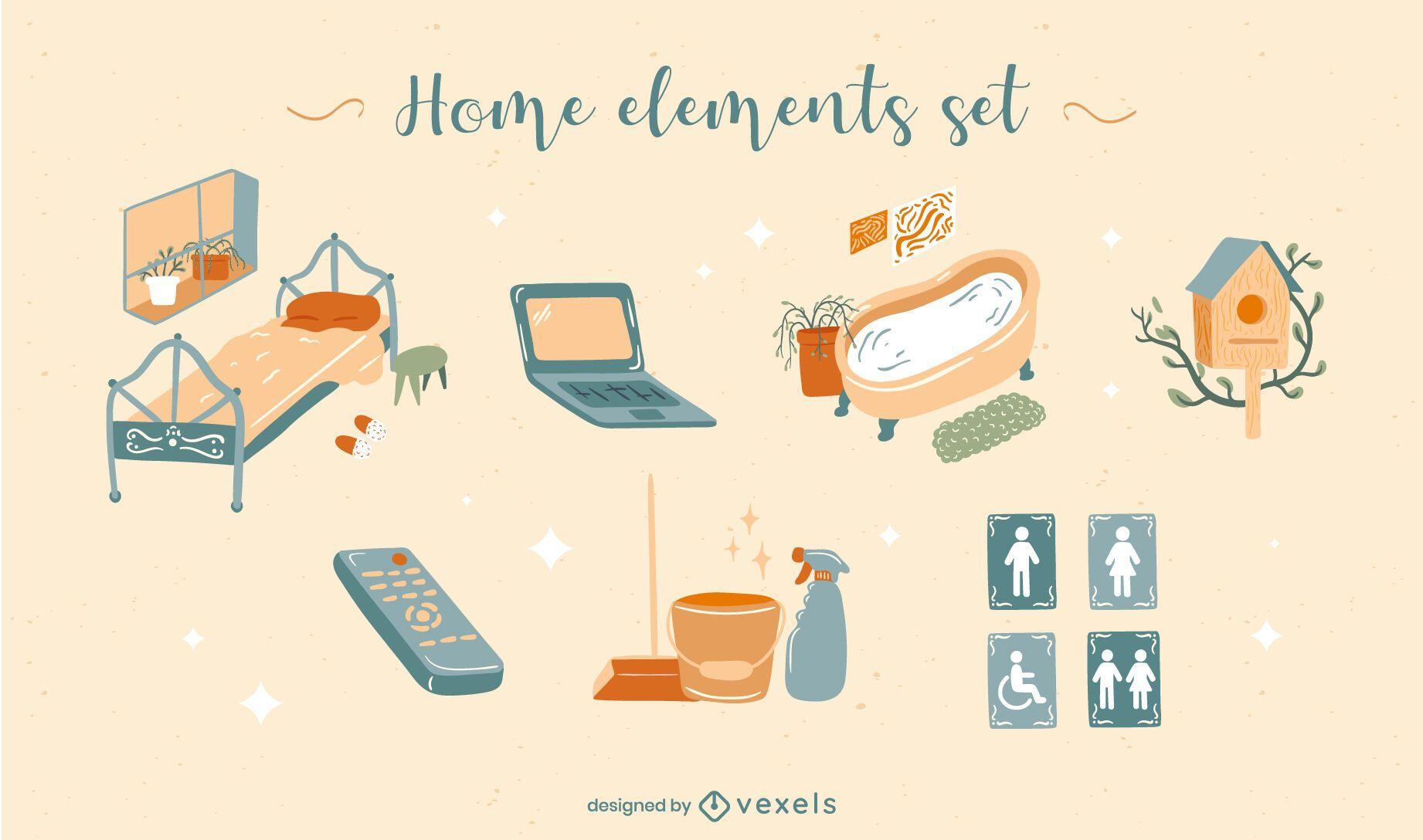 Conjunto plano de elementos domésticos
