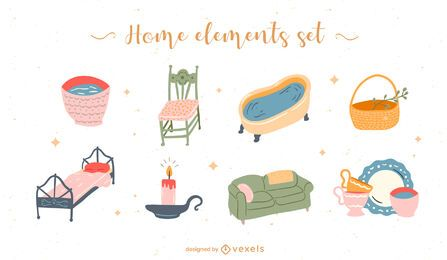 Home elements flat set