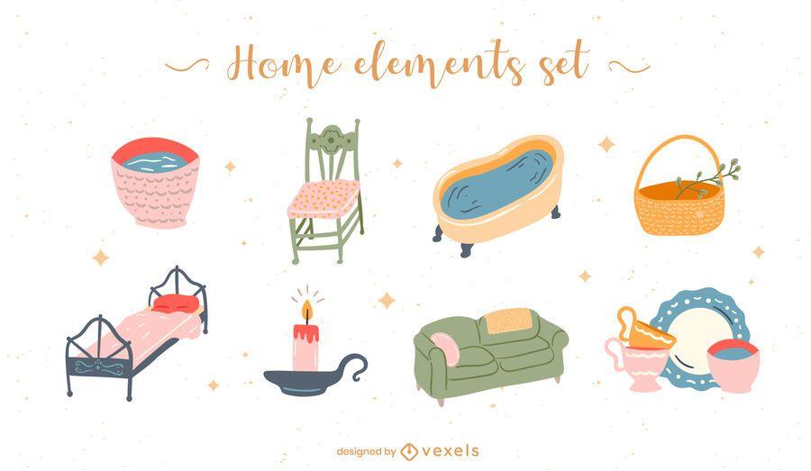 Conjunto plano de elementos para el hogar