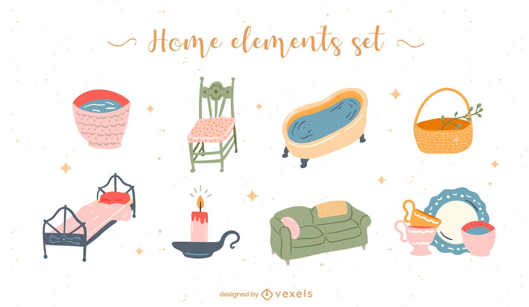 Home elements flat set
