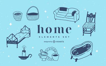 Conjunto de doodle de elementos para el hogar