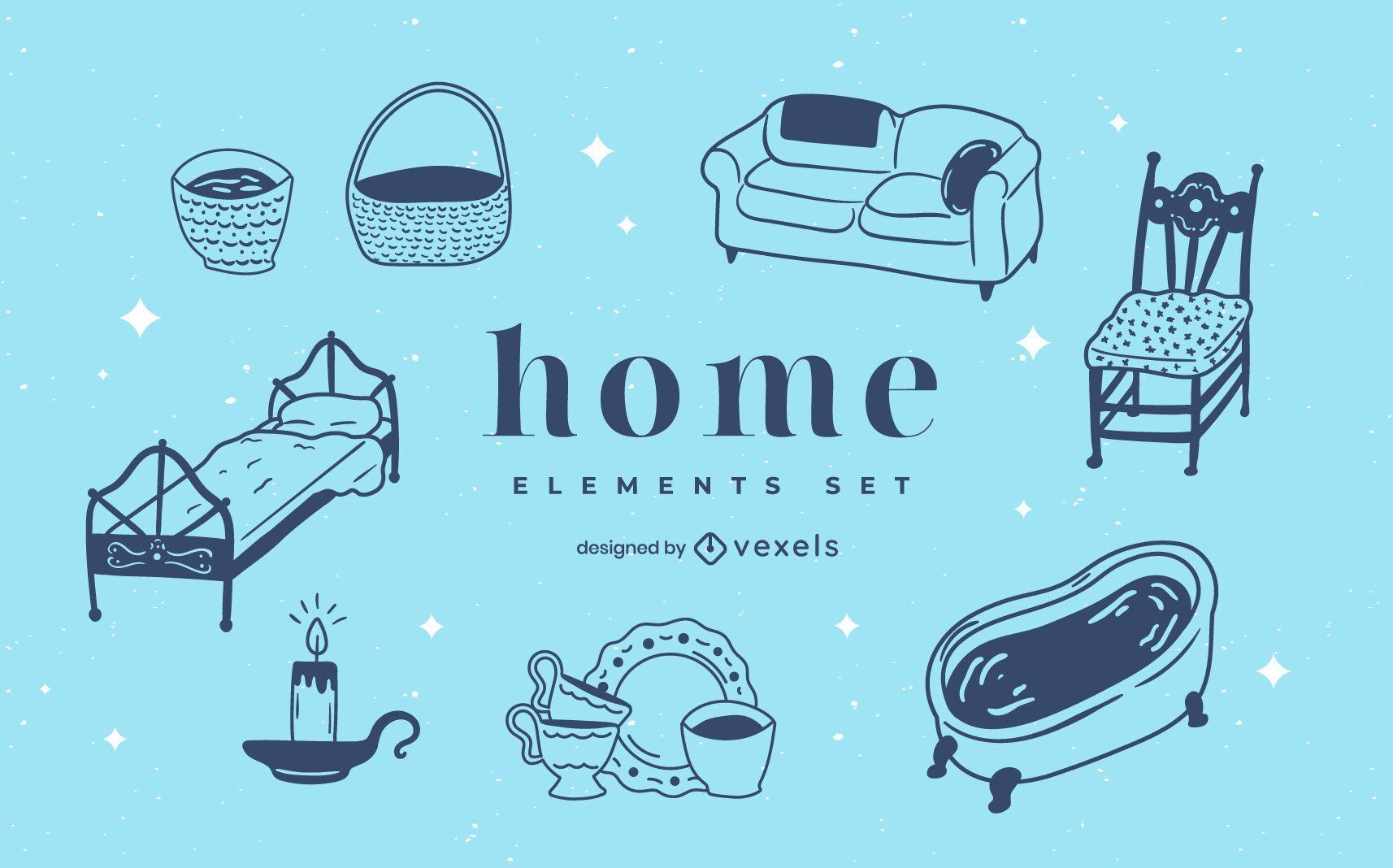 Conjunto de doodle de elementos para casa
