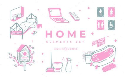 Home element duotone doodle set