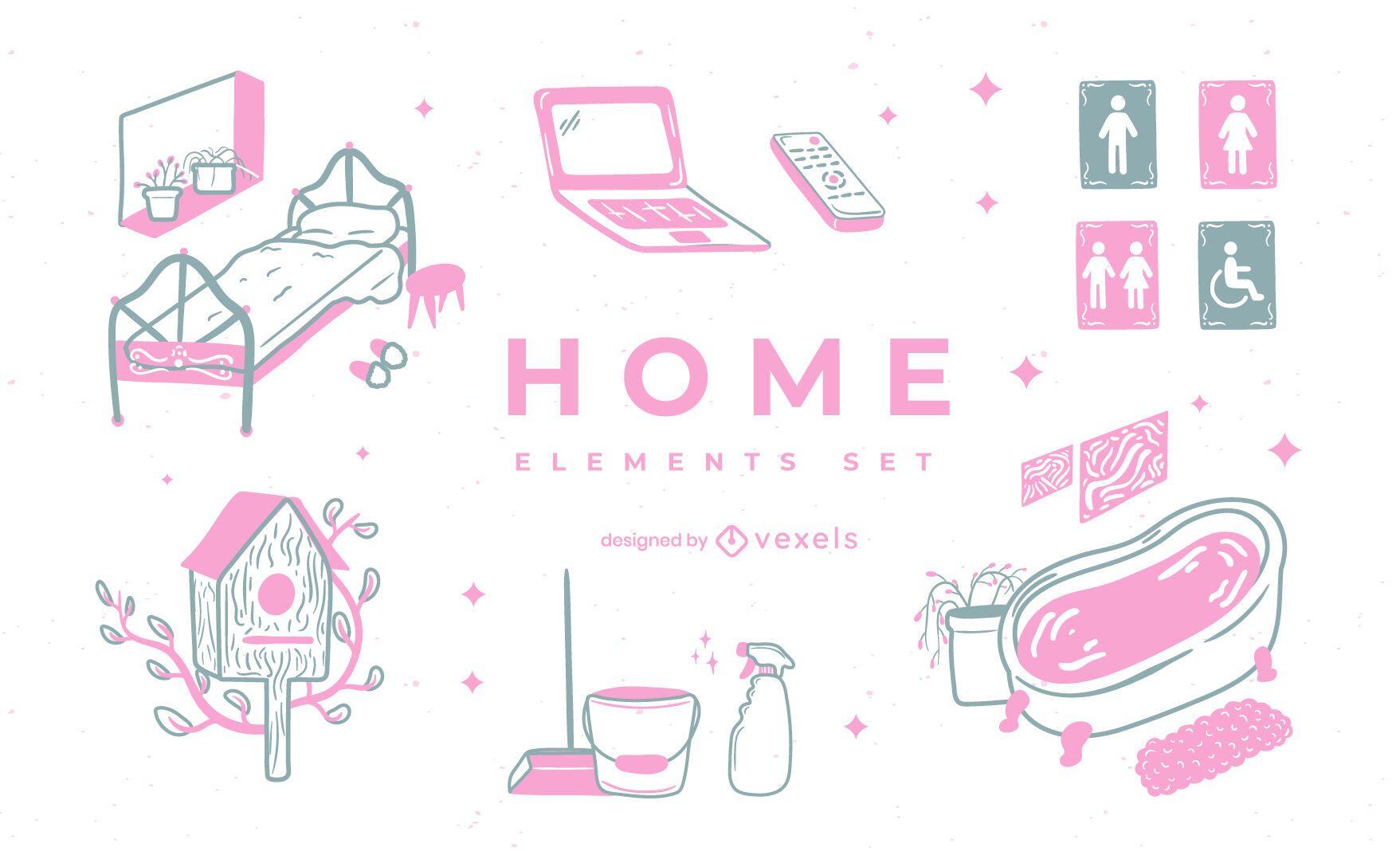 Home element duotone doodle set