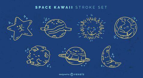 Conjunto de traços do espaço kawaii