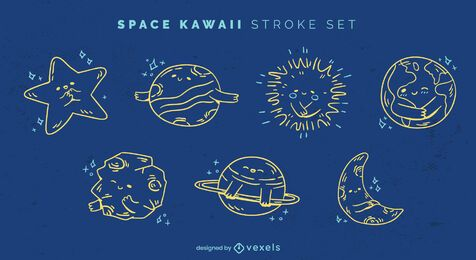 Space kawaii stroke set