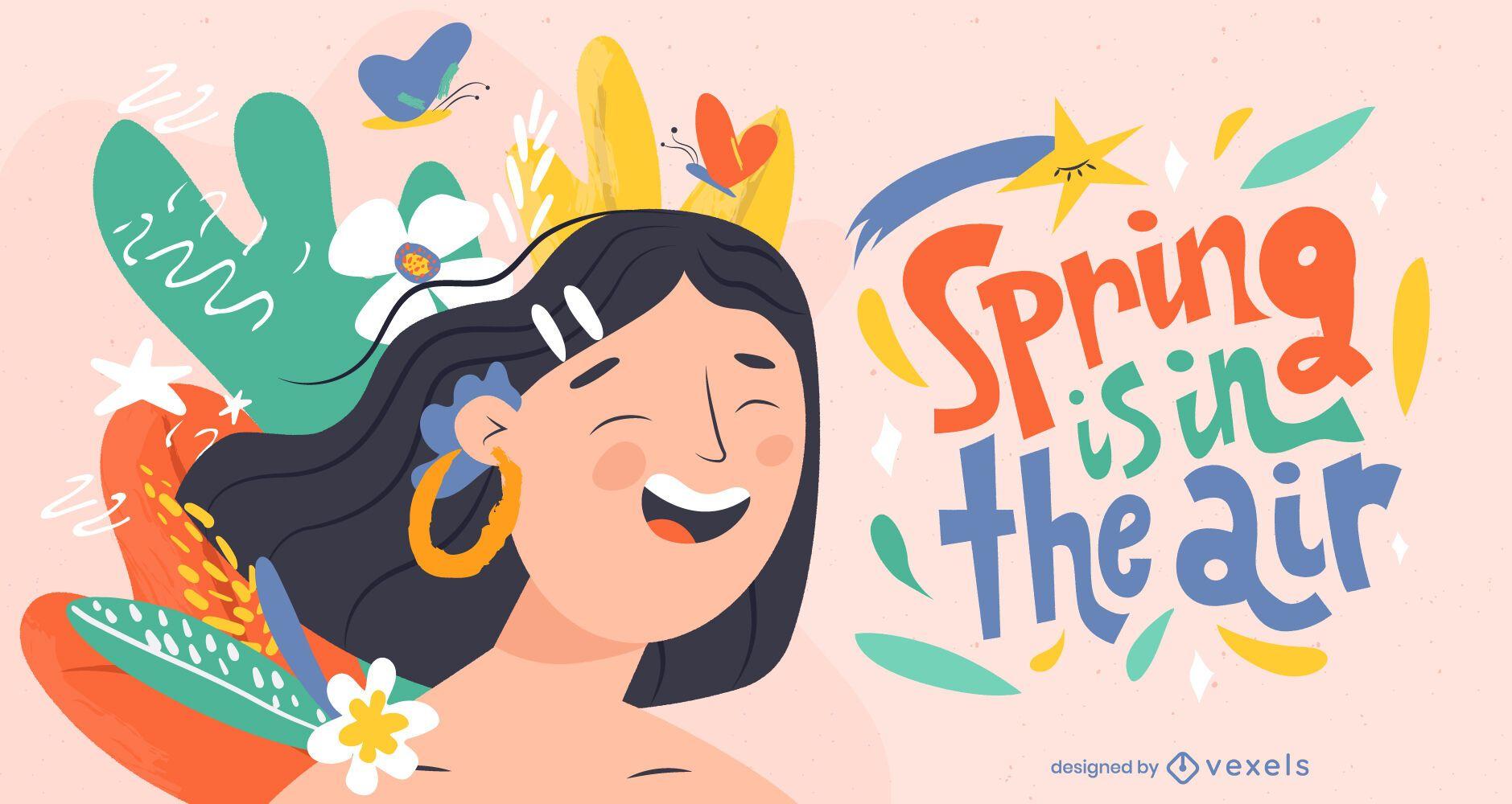 Projeto da ilustração da primavera no ar