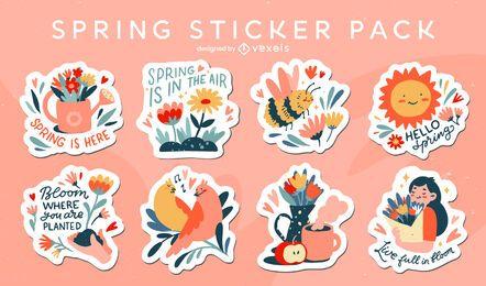 Set de pegatinas florales de primavera