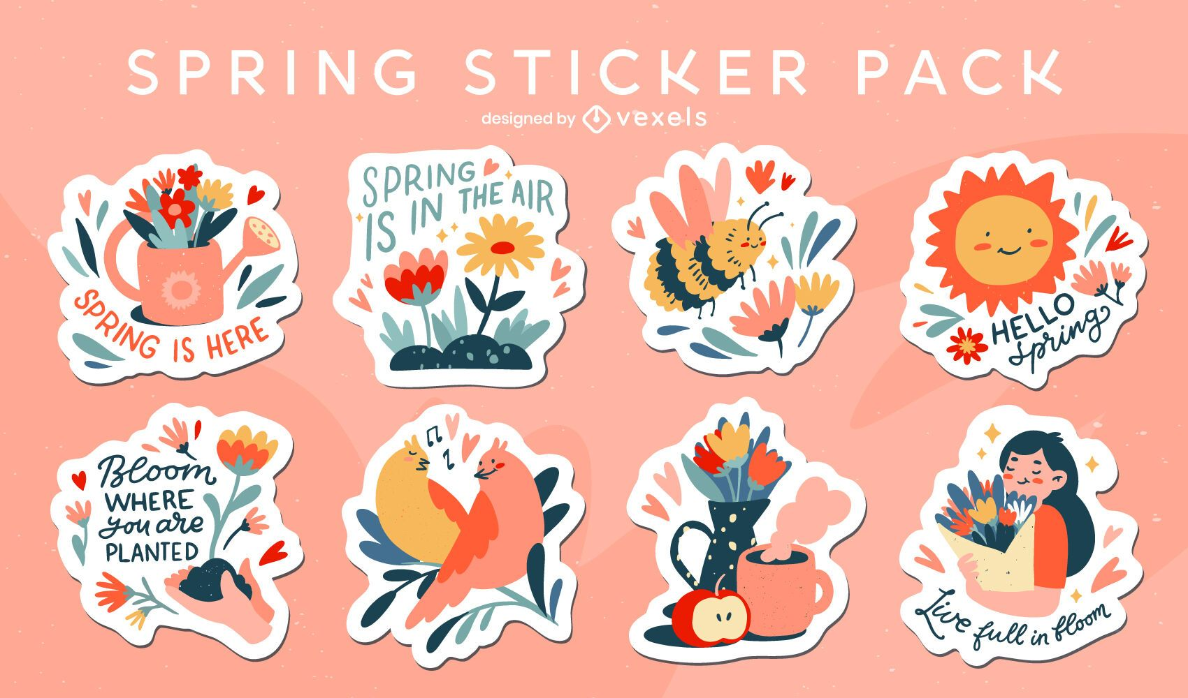 Conjunto de adesivos florais primavera