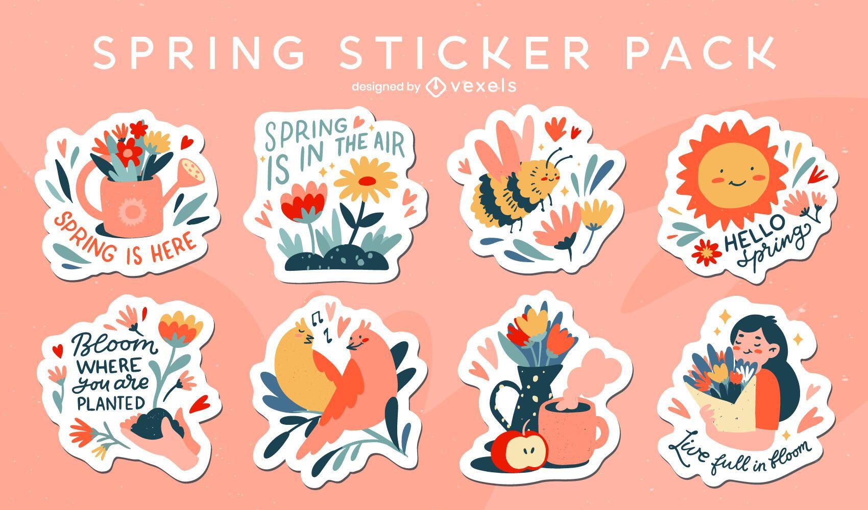 Floral spring sticker set