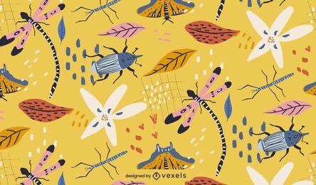 Desenho de padrão de insetos da primavera