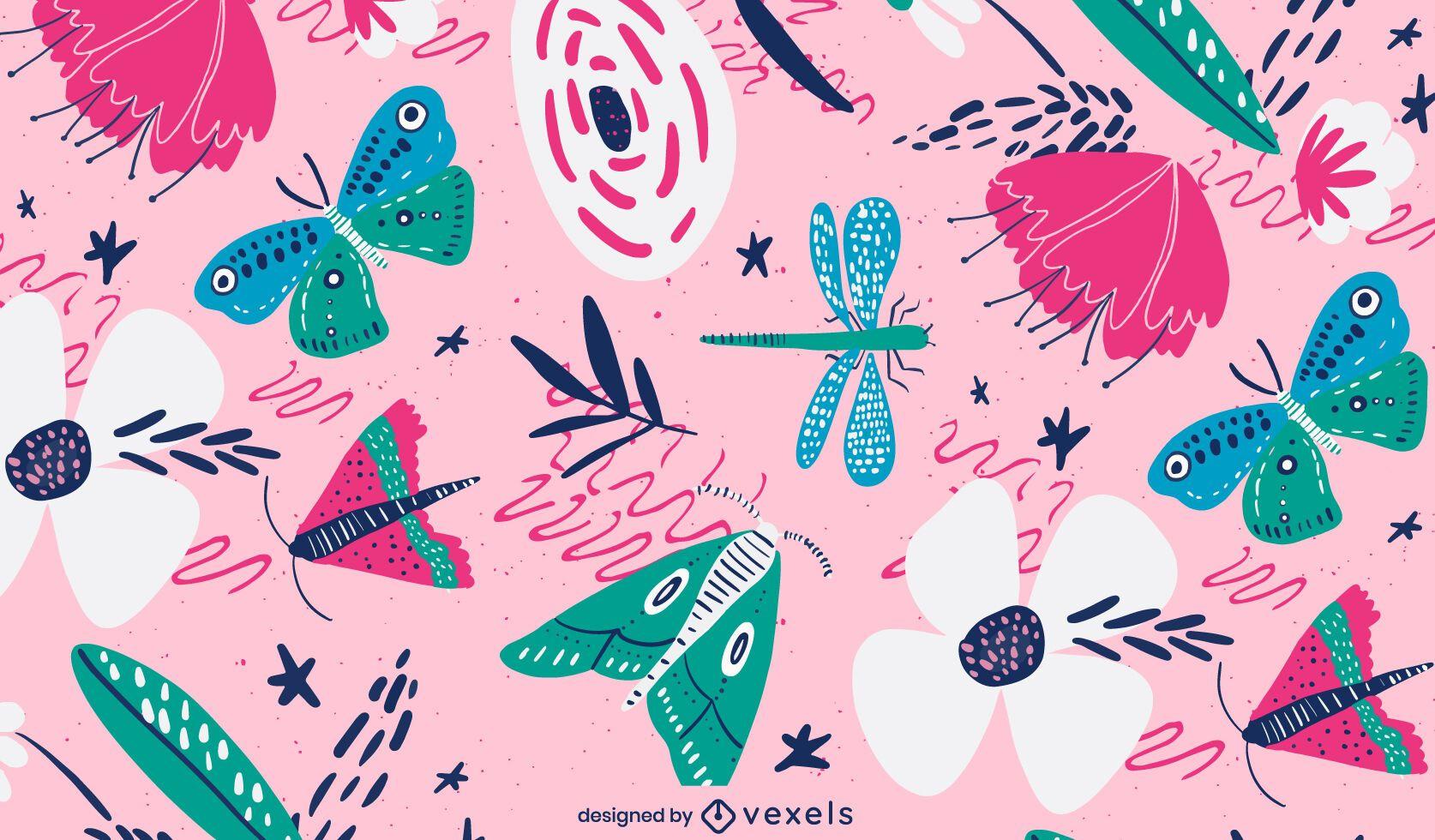Diseño de patrón de primavera de insectos voladores