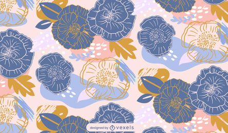 Abstract spring flowers pattern design