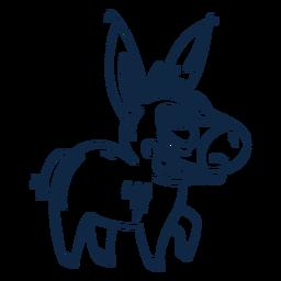 Big teeth donkey filled-stroke