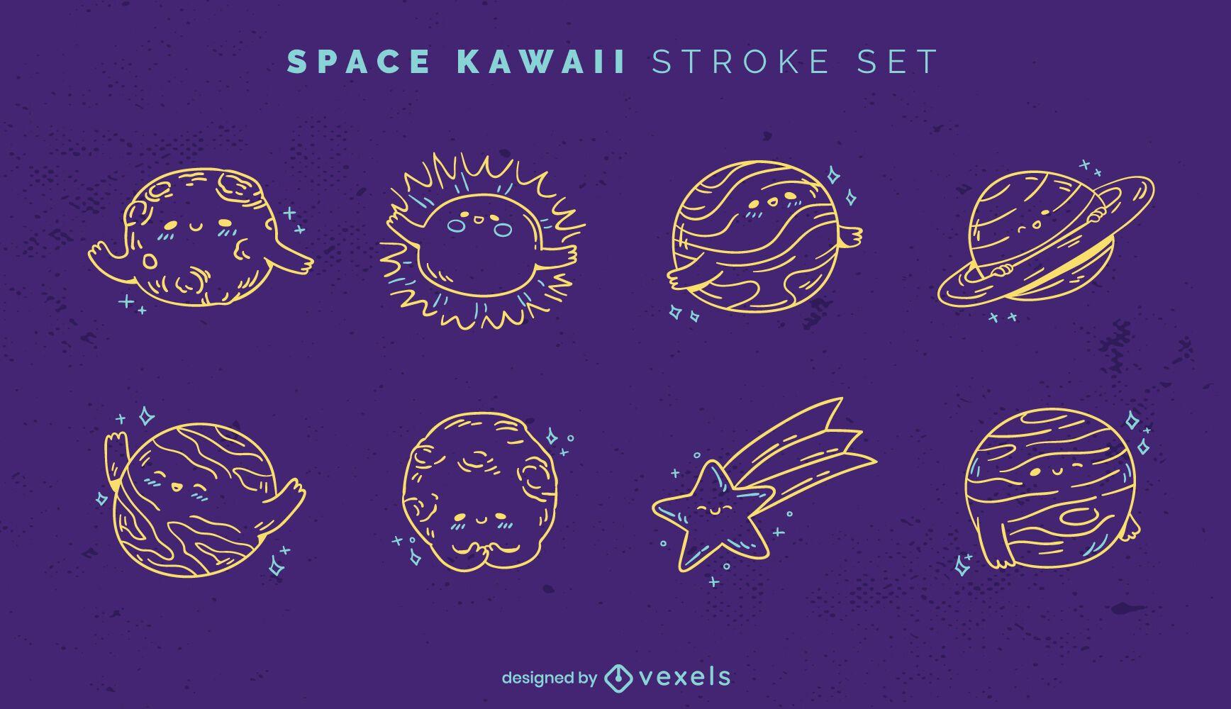 Conjunto de trazo espacial kawaii