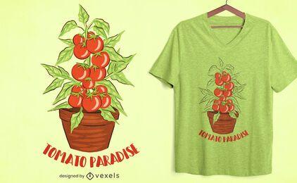 Diseño de camiseta de tomate paraíso