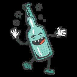 Dibujos animados de botella de cerveza feliz