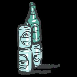 Doodle de latas y botellas