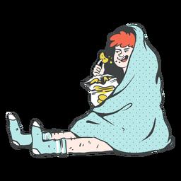 Ilustração de pessoa comendo batatinhas