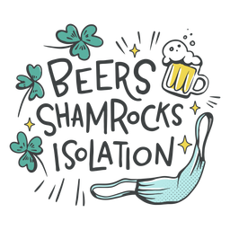 Beers shamrocks isolation badge