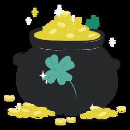 Ilustração do pote de ouro brilhante