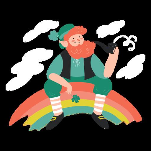 Happy irishman rainbow character