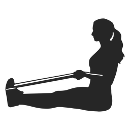 Mujer, estirar, silueta