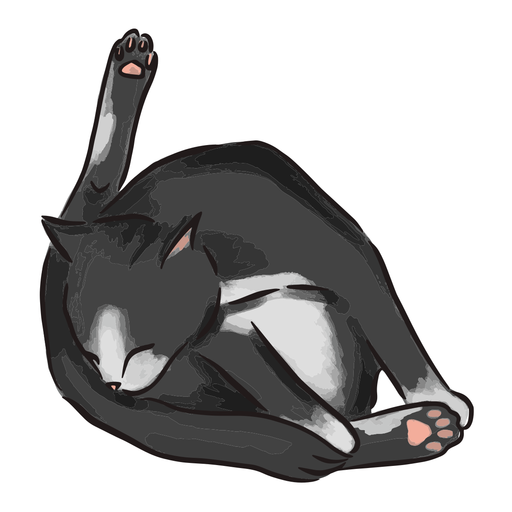 Black cat bathing illustration