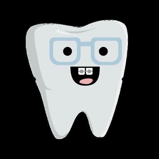 Feliz personaje de diente nerd