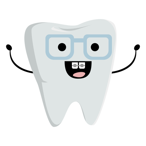 Happy nerdy tooth character
