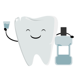 Happy tooth with mouthwash character