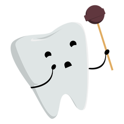 Happy tooth with lollipop character