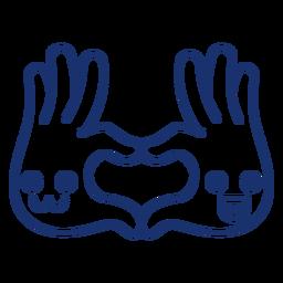 Trazo de dibujos animados de manos de corazón