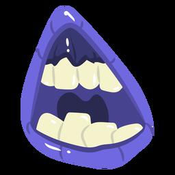 Dibujos animados de boca morada