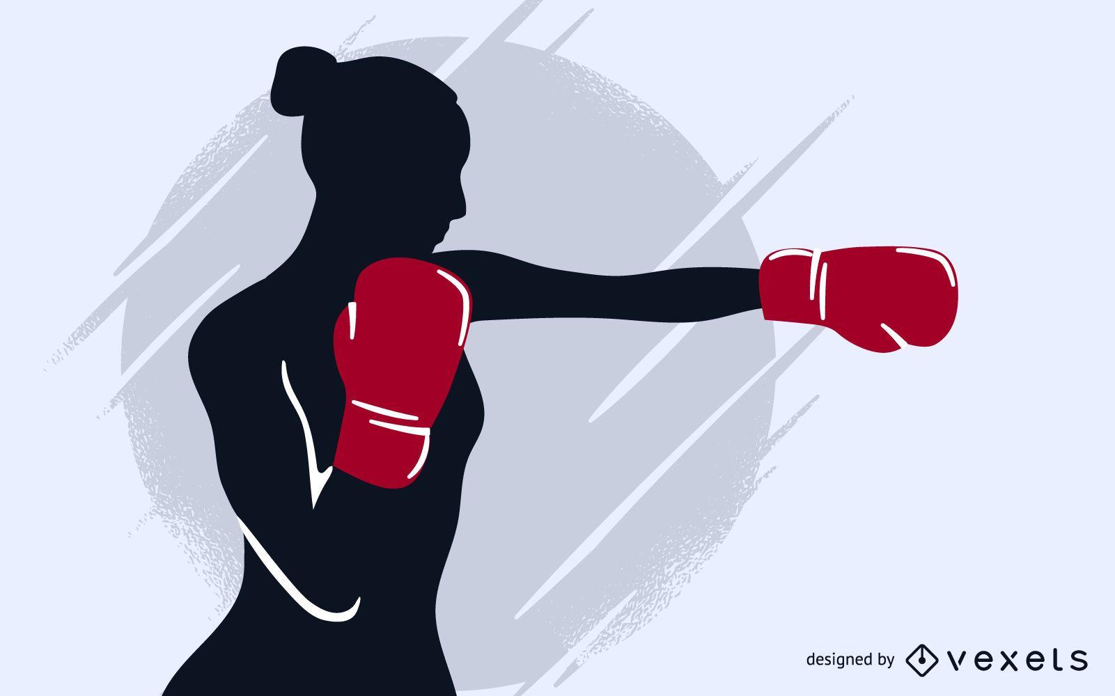 Boxing girl vector