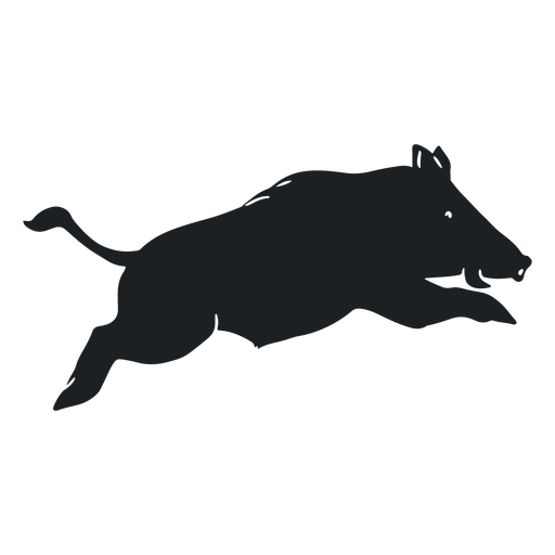 Wild boar leaping silhouette Transparent PNG